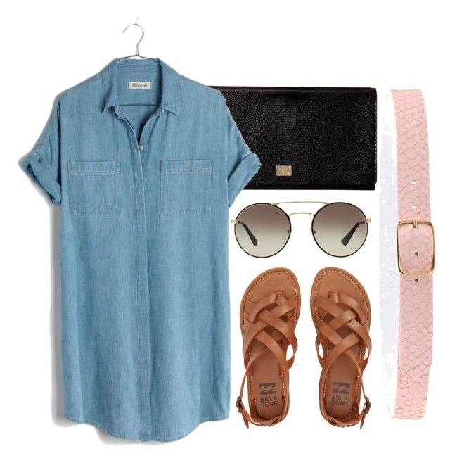 """Shirt Dress"" by iichokolovarii ❤ liked on Polyvore featuring Orciani, Dolce&Gabbana, Madewell, Billabong, Prada and shirtdress"