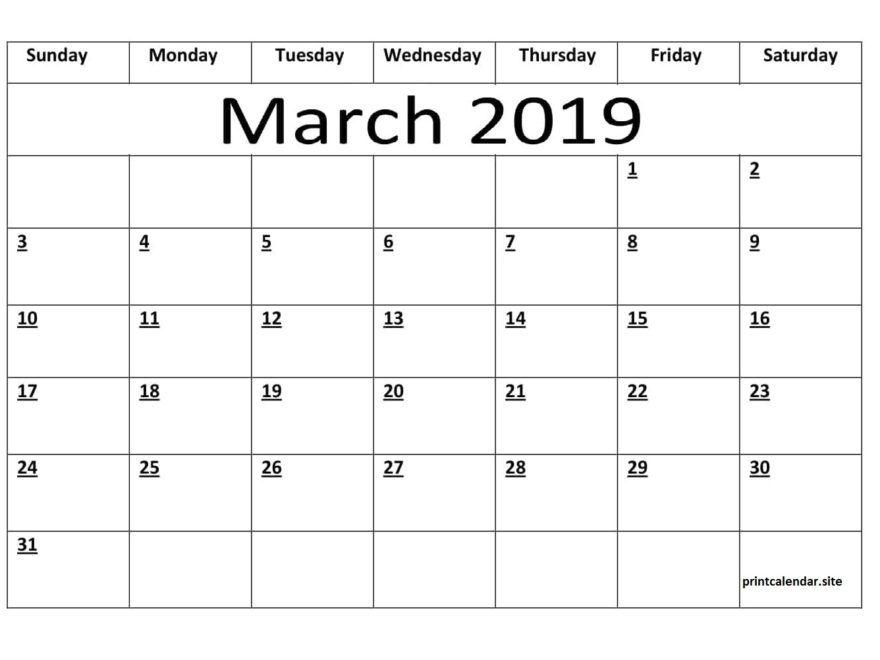 Editable March 2019 Calendar Template March 2019 Calendar