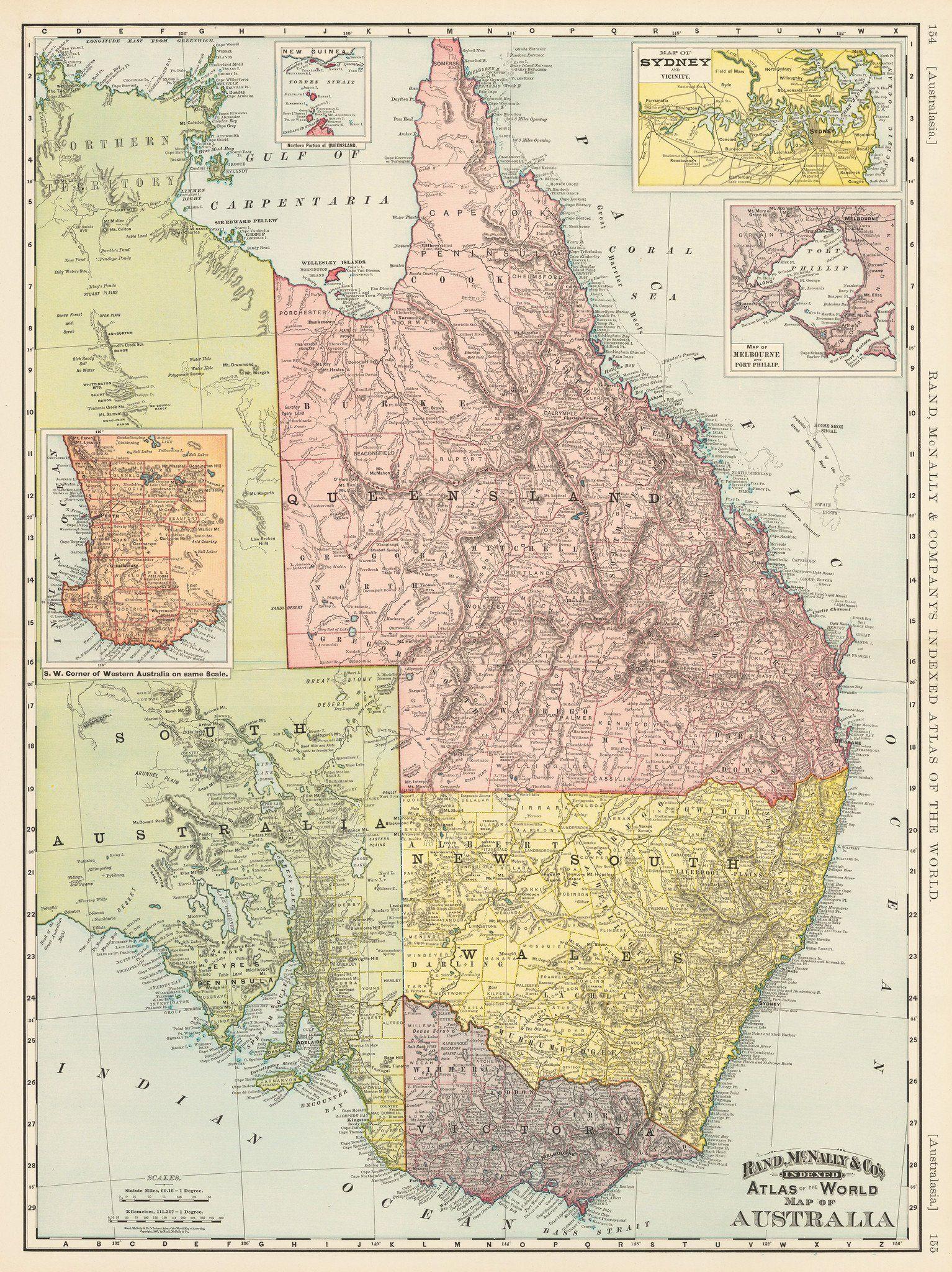1892 rand mcnally cos indexed atlas of the world map of indexed atlas of the world map of australia gumiabroncs Choice Image