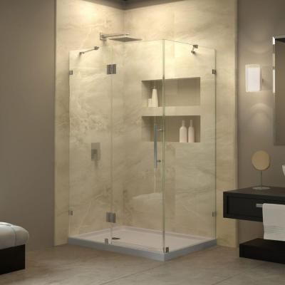 Dreamline Quatra Lux 46 3 8 In W X 34 1 4 In D X 72 In H Frameless Corner Hinged Shower Enclosure In Brushed Nickel Shen 1334460 04 Frameless Shower Enclosures Shower Enclosure Frameless Shower