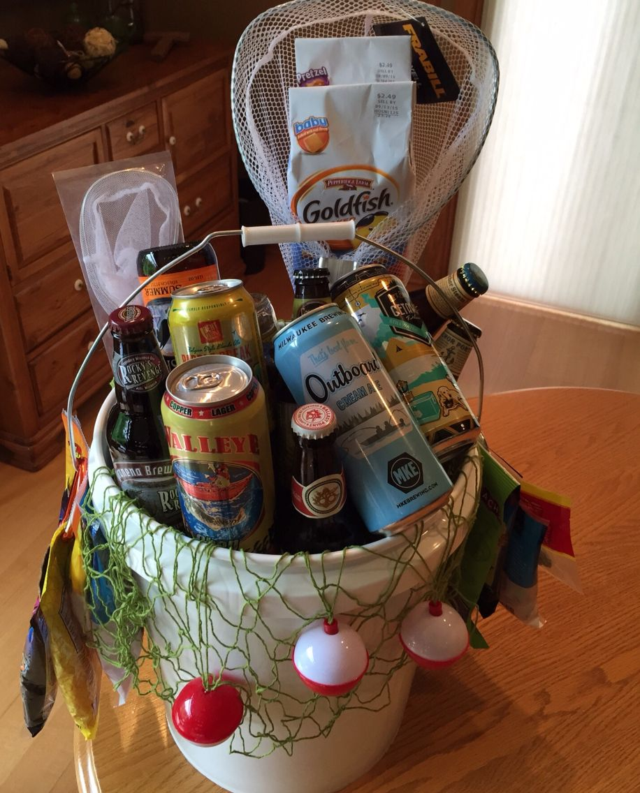 Beer fishing bucket fill with fishing gear snacks and for Fishing gifts for dad
