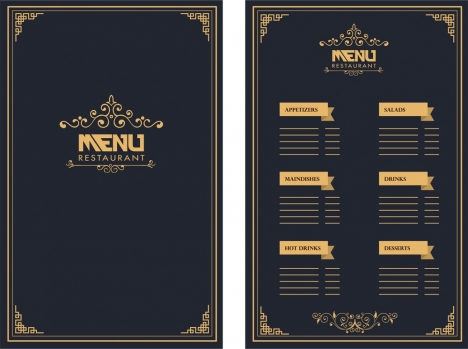 Restaurant Menu Design Royal Style On Dark Background Vectors Stock In Format For Free Download 2 17mb Menu Restaurant Restaurant Menu Design Menu Cover Design