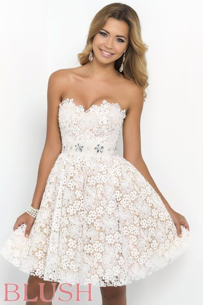 Blush Prom Dresses and Evening Gowns white lace short prom dress ...