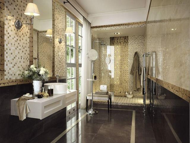 carrelage de salle de bains original 90 photos inspirantes - Salle De Bain Beige Et Noir