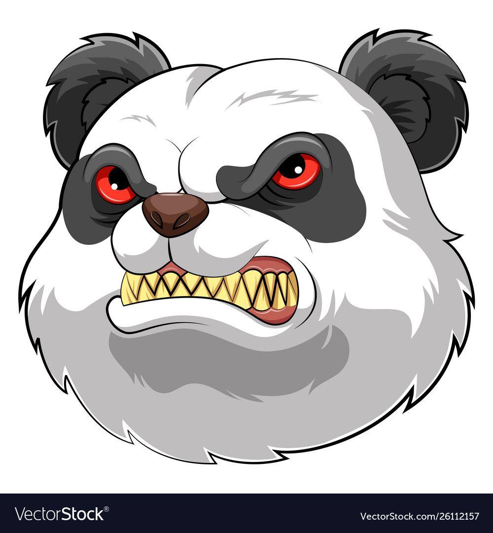 Mascot head an angry panda vector image on