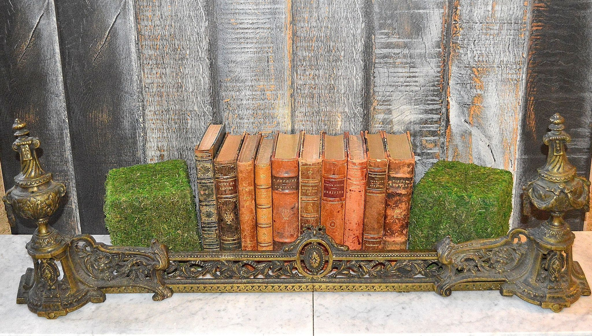 antique french fireplace fender chenets andiron set products