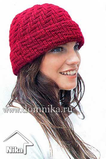 Как вязать шапку спицами с отворотом женскую
