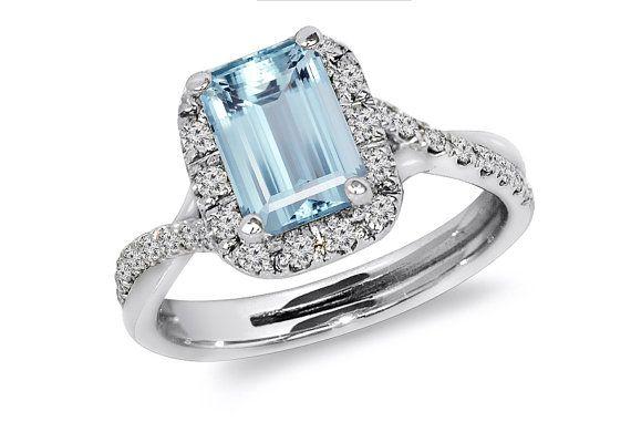Emerald cut Aquamarine and Diamond by JewelersEnterprise on Etsy