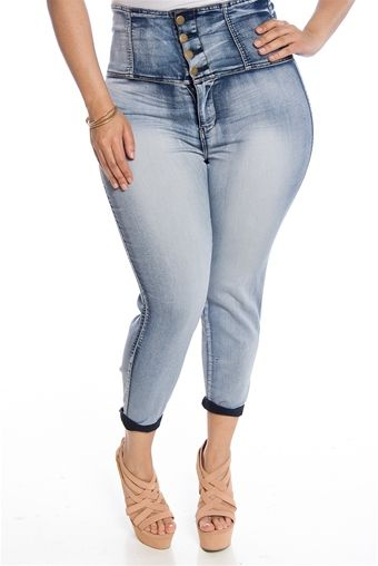 On Trend Til the End Plus Size High Waist Bleached Jeans - Blue ...