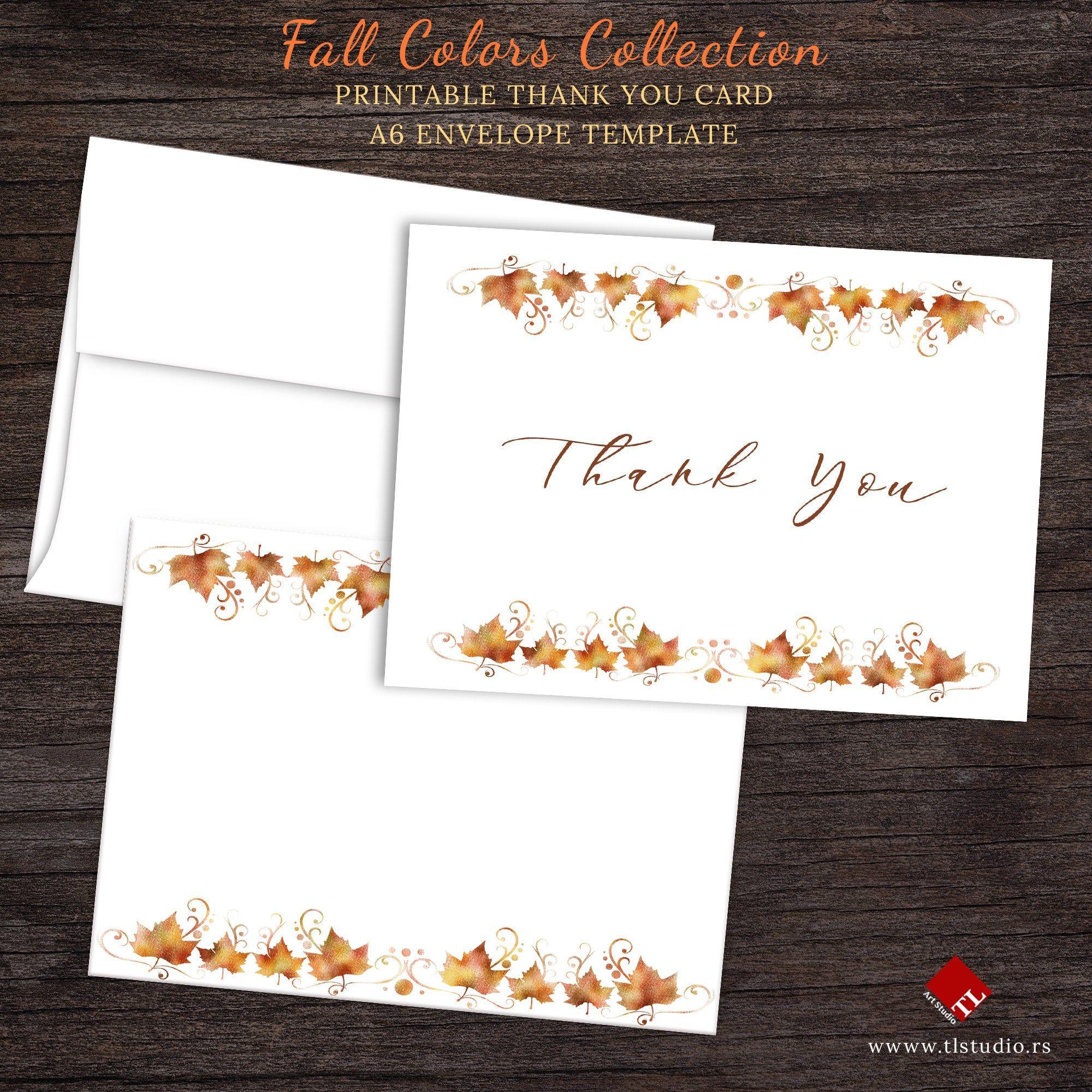 Printable Autumn Thank You Card Folded Thank You Card And Etsy Printable Thank You Cards Printable Cards Printable Greeting Cards