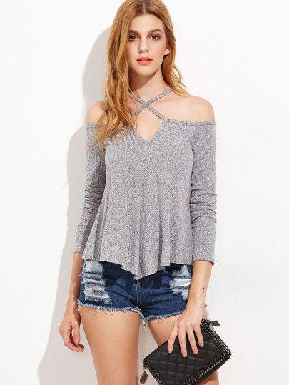 b3340b47c8 Camiseta con hombros al aire y tiras cruzadas - gris | Blouses ...