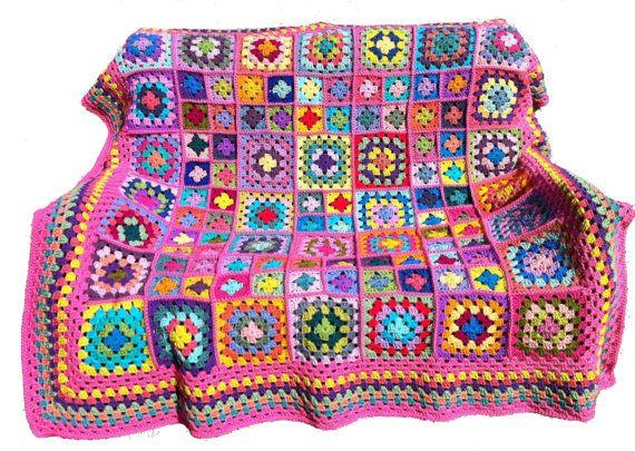 Crocheted afghan crochet blanket handmade crochet bedspread granny ...