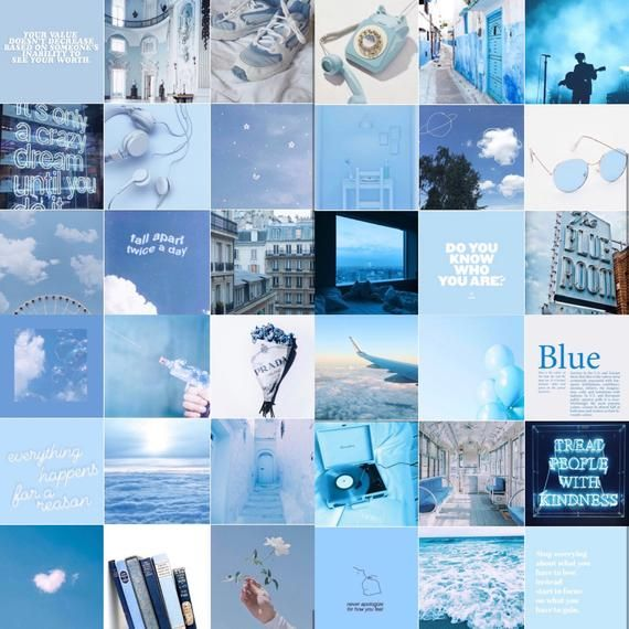 Blue Aesthetic Wall Collage Kit Aesthetic Light Blue Electric Wall Collage Collage Kit Blue Aesthetic Pastel Blue Aesthetic Aesthetic Light Iphone blue collage wallpaper
