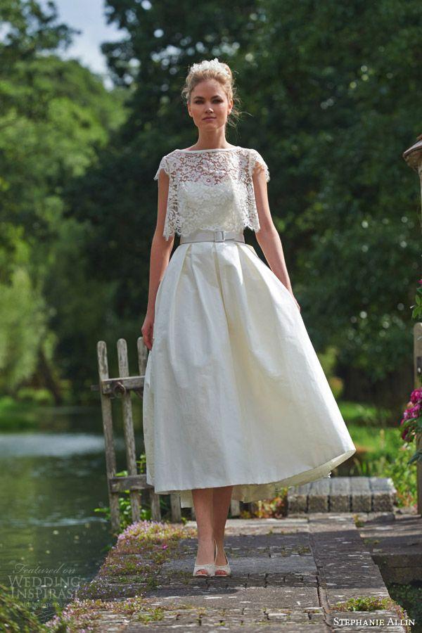 59f24680706d stephanie allin wedding dresses 2016 bridal symphony strapless sweetheart  bodice midi tea length skirt buckle belt