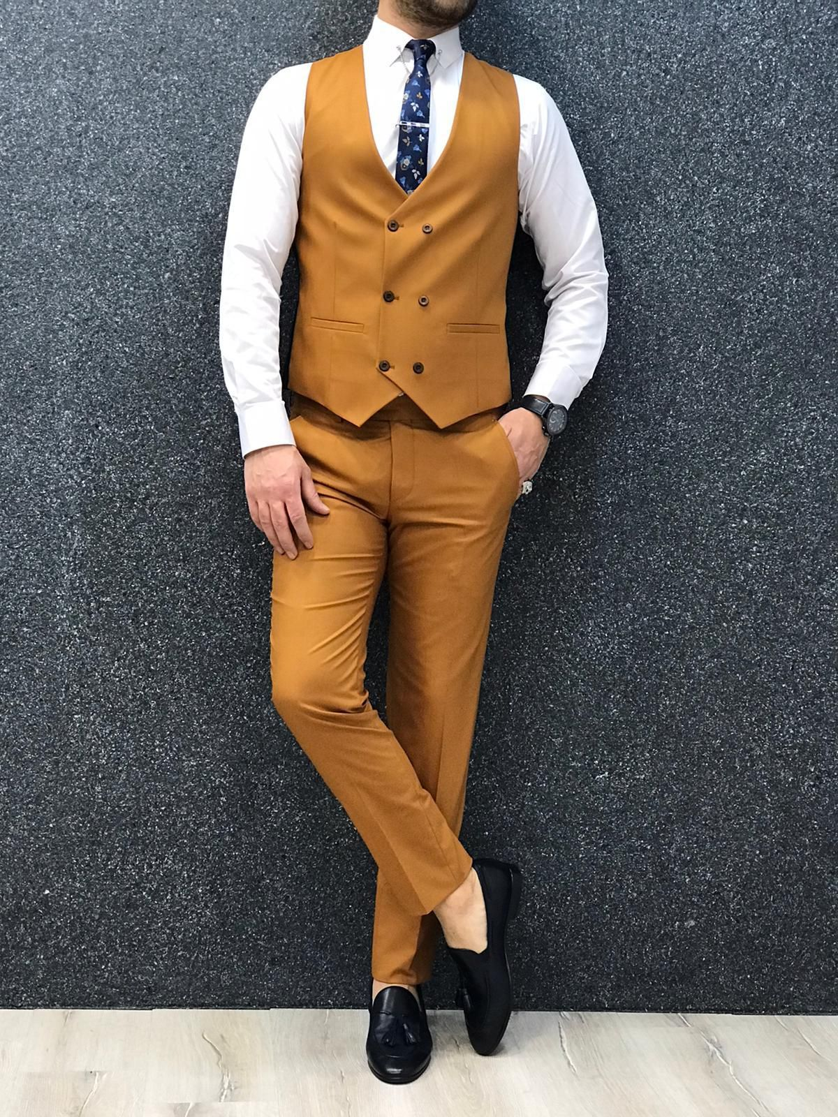 Gentwith villanova mustard slim fit suit in 2020 with