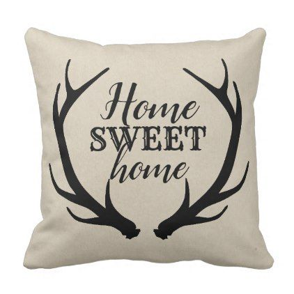 Monogram Rustic Deer Antlers Monogram Country Chic Throw Pillow Zazzle Com Chic Throw Pillows Deer Antler Monogram Antler Monogram