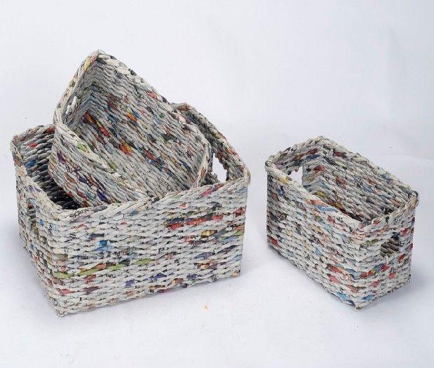 Cestas de peri dico cestas reciclado y manualidades de - Reciclar cestas de mimbre ...