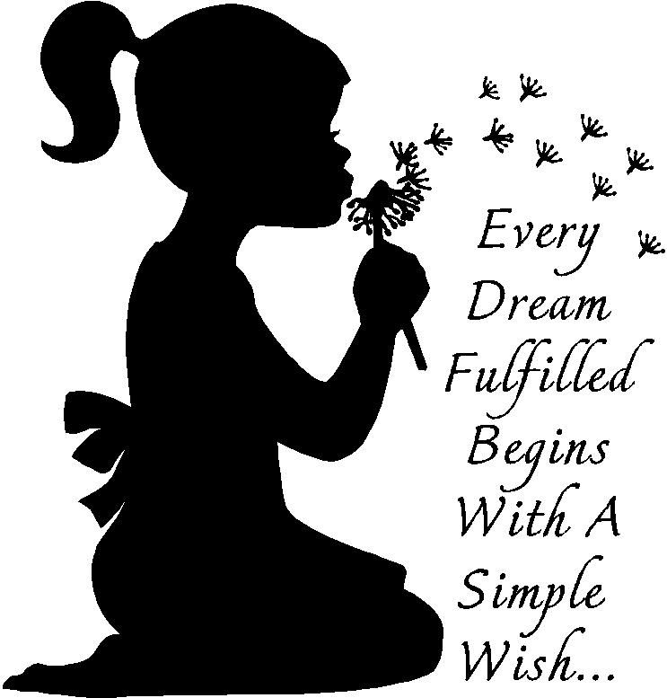 Inspirational Wall Quote Girl Blowing Dandelions Vinyl Wall Design - How to make vinyl wall decals with silhouette