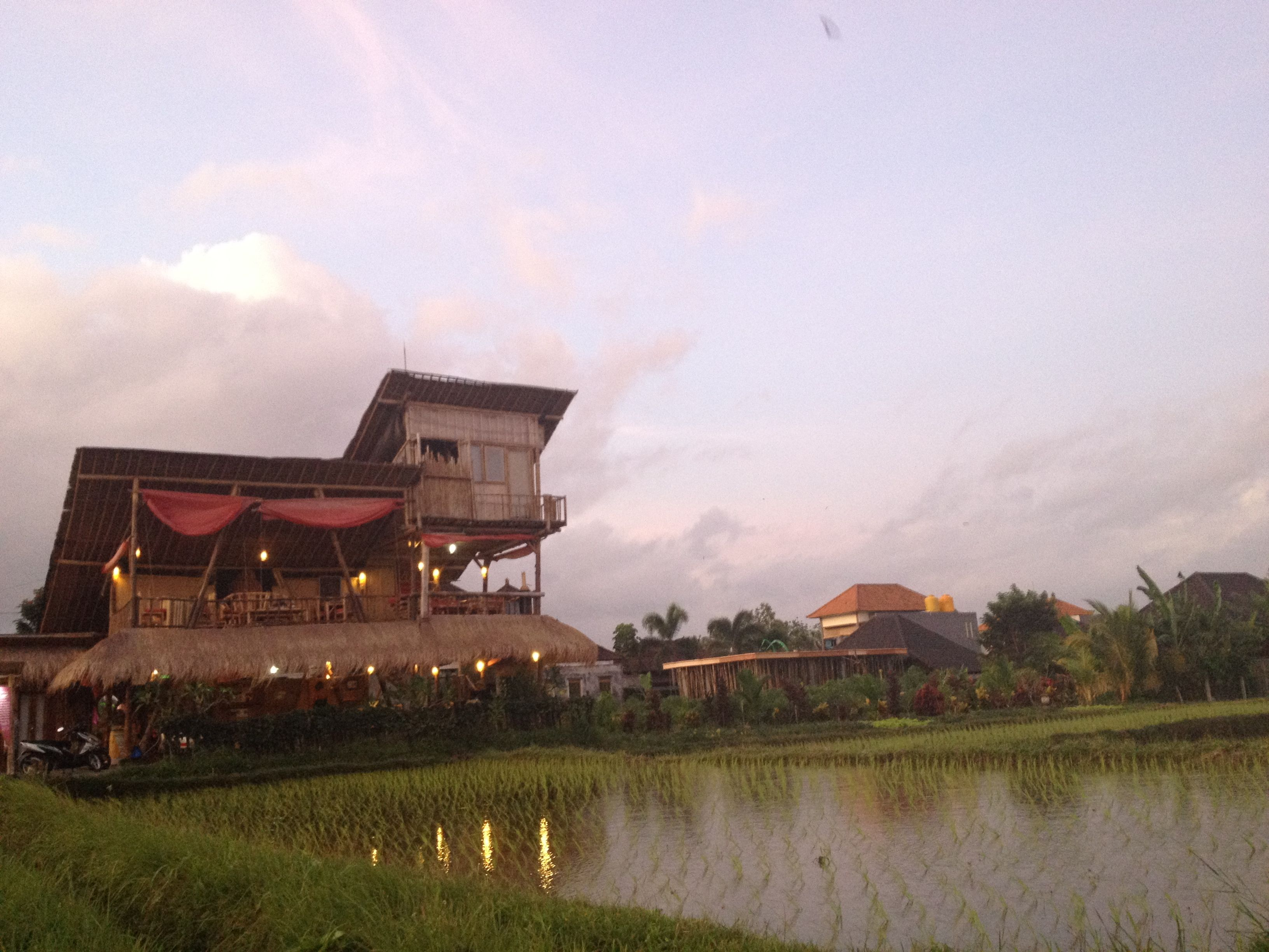 Restaurant in the middle of rice fields near Ubud in Bali