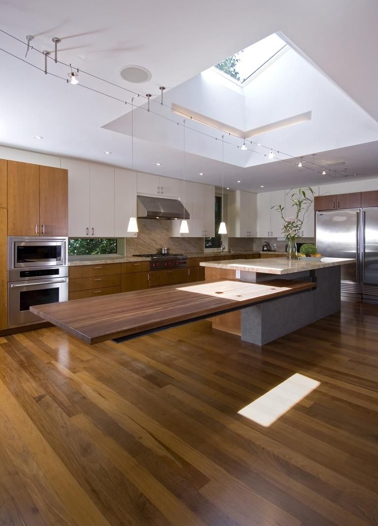 Cantilevered Tables Floating In Modern Luxury Homes Custom Kitchen Island Kitchen Island Design Contemporary Kitchen