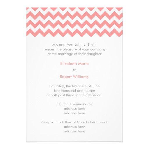 Pink Bellini Chevron Wedding Invitation