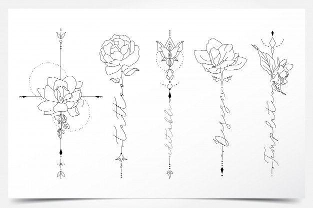 Beautiful Feminine Editable Floral Tattoo