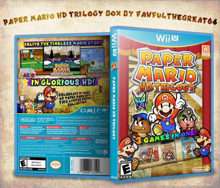 Paper Mario HD Trilogy Wii U box art cover by dimentio64 |This would
