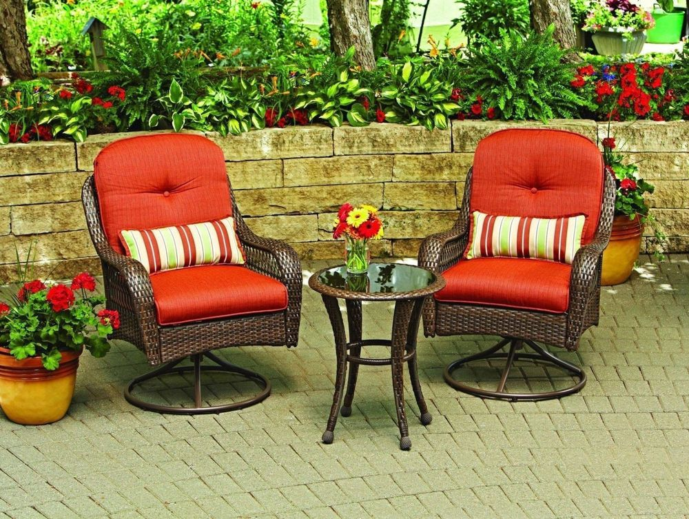 Patio Swivel Chair Set Garden Furniture Outdoor Wicker Table Cushion  Ottoman #Chair #Patio #