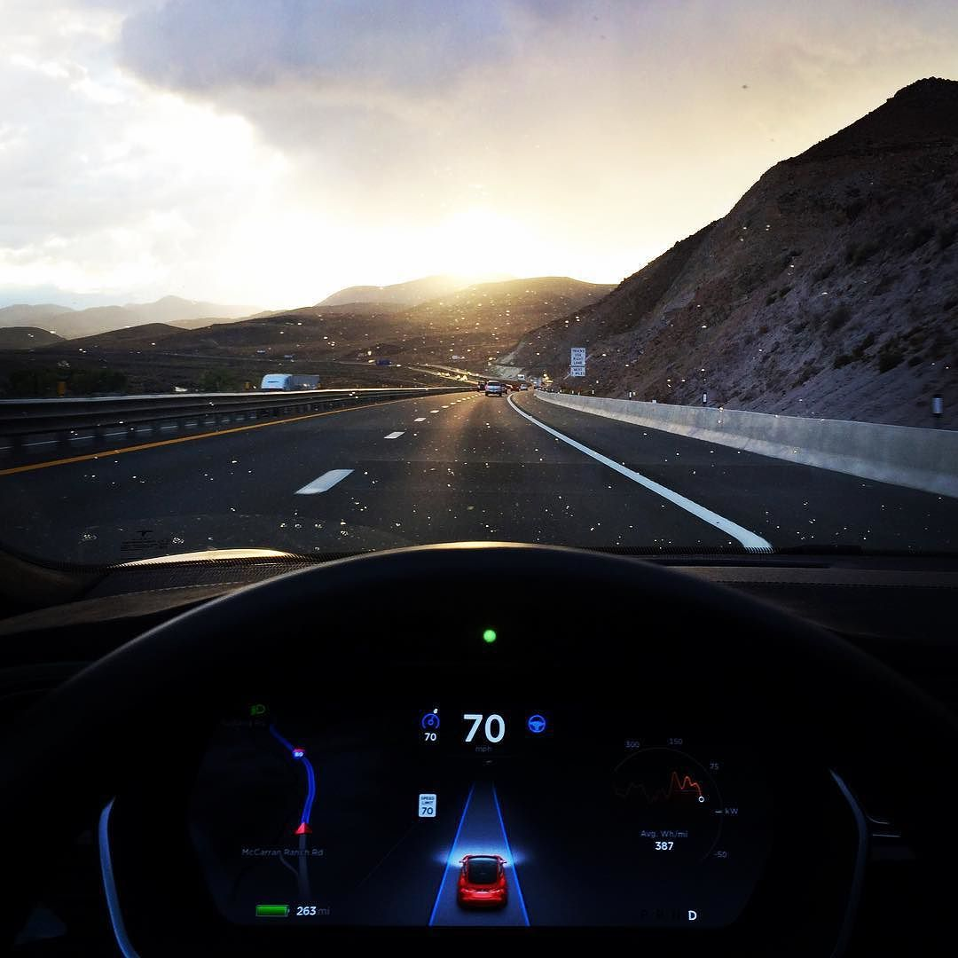 Tesla Autopilot logging miles with a view #Tesla #Autopilot #cars #electric by teslamotors