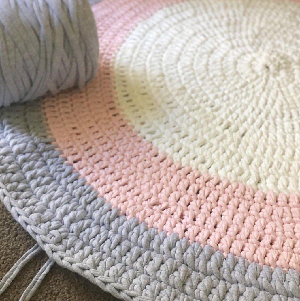 Pale Pink Light Grey White Tshirt Yarn Round Nursery Rug In The Making Pink And Grey Rug Pink Nursery Rug Crochet Rug