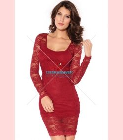 Long Sleeves Lace Dress Red | Sexy Dresses, Sexy Clubwear, Ladies Clubwear, Mini Dresses | Party Dresses