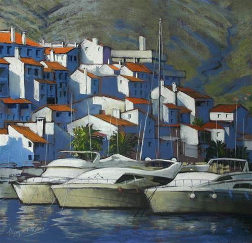 "Daily Paintworks - ""Puerto Banus Spain"" by Margaret Evans"