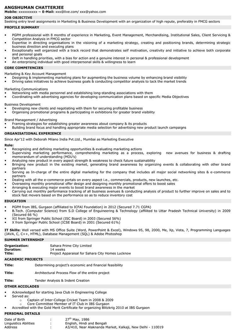 Marketing resume samples marketing resume entry level