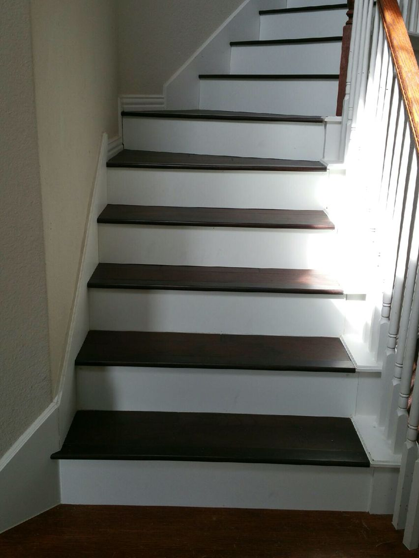 Best Dark Hickory On Stairs With White Risers White Stair 400 x 300