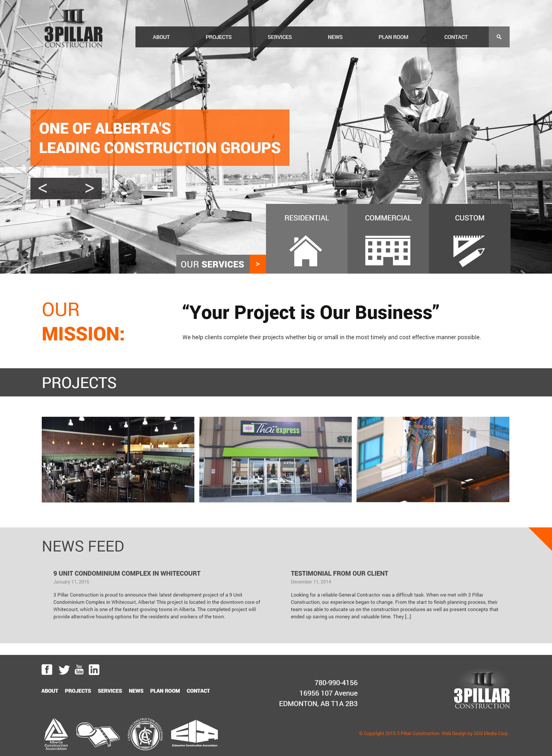 Web Design 3 Pillar Construction Web Design Construction Group Business Mission