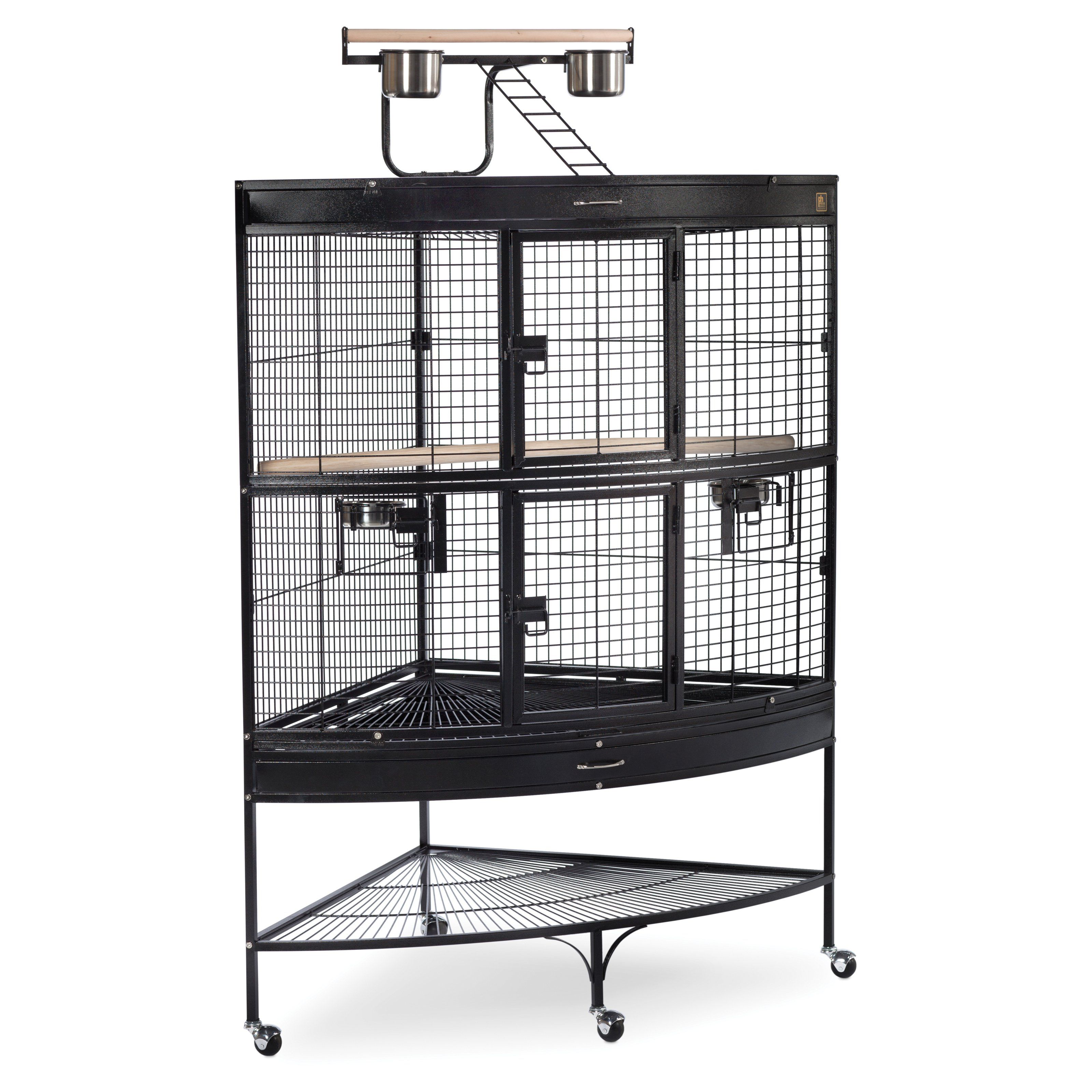 Prevue Pet Products Corner Parrot Cage-Black 3158BLK. I like the idea of a corner cage. This one also has a play stand on top, along with space for storage below. Use baskets/bins for hidden storage.