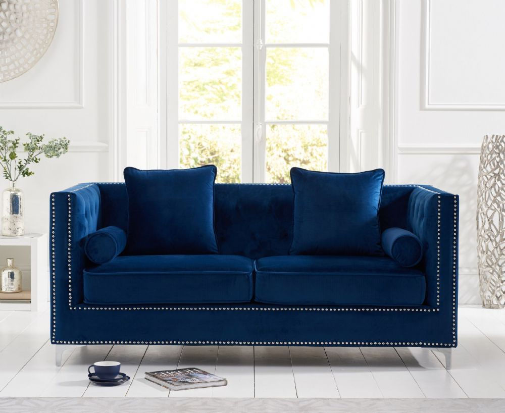 The New England Blue Velvet 3 Seater Sofa Combines Craftsmanship With A Minimalist Design Making For A Comfortable Y Seater Sofa Blue Velvet Sofa 2 Seater Sofa