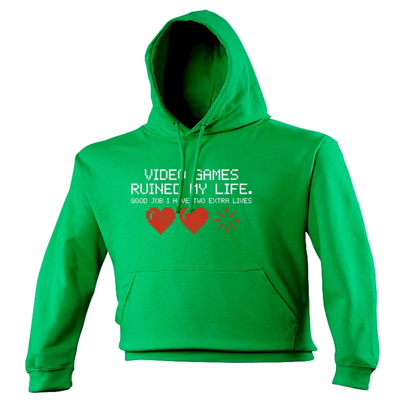 123t USA Video Games Ruined My Life ... Two Extra Lives Funny Hoodie