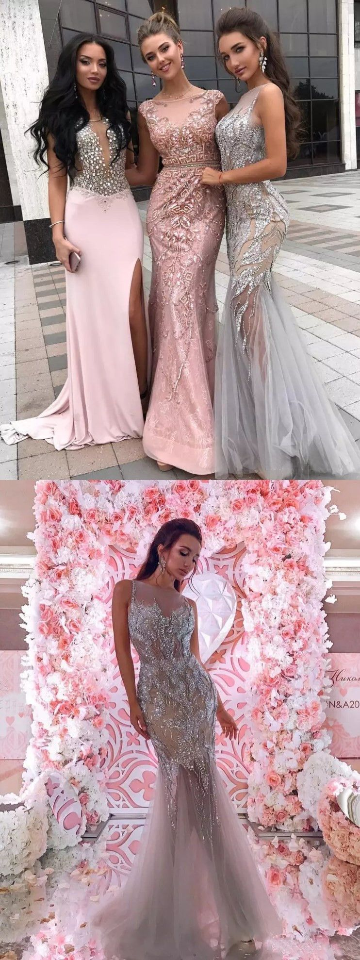 chic mermaid sparkly silver prom dresses beading long prom