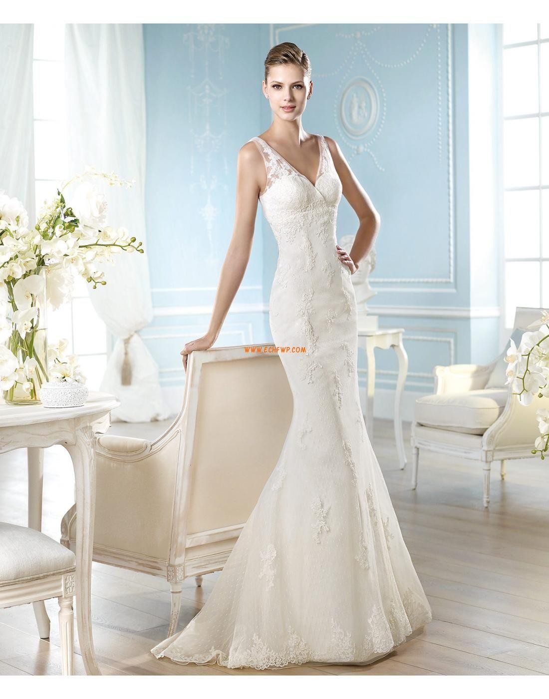 Sjöjungfru V Ringad Spets Designer Bröllopsklänningar Elegant Wedding Gowns Y Dresses