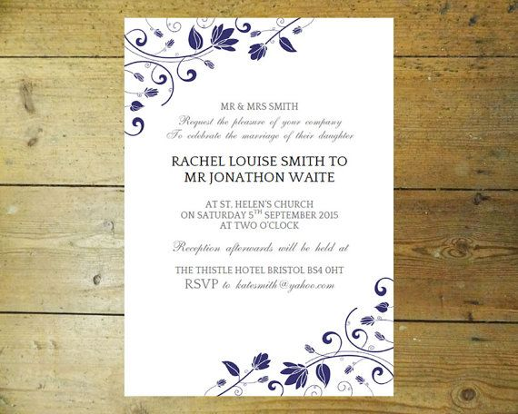 Wedding invitation template (Romance) blue u2013DOWNLOAD PRINTABLE - ms word invitation templates