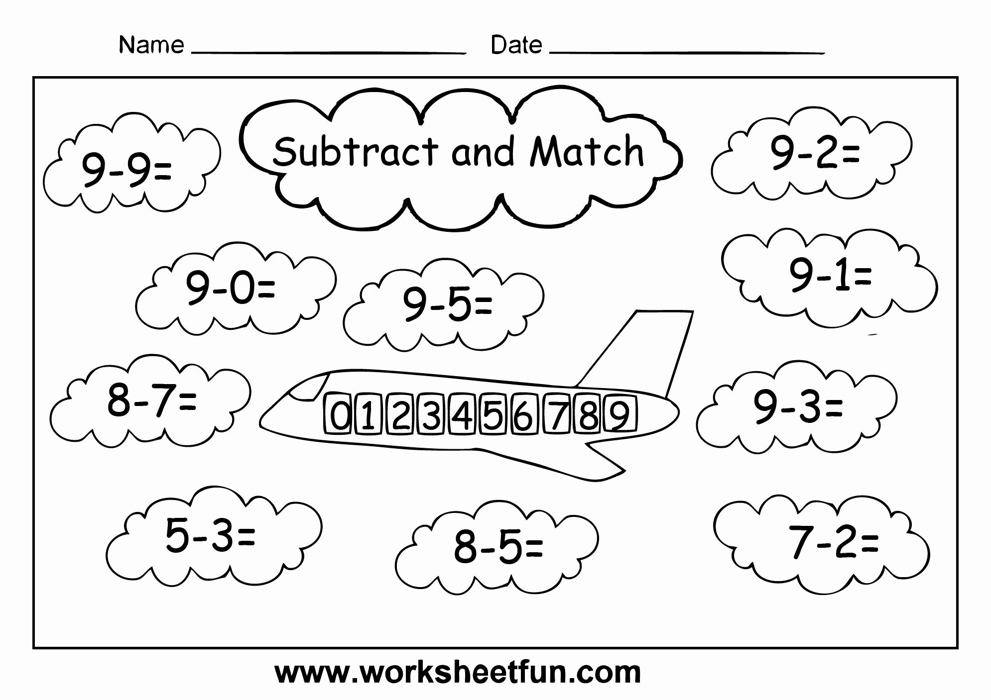Kindergarten Worksheets Subtraction Coloring In