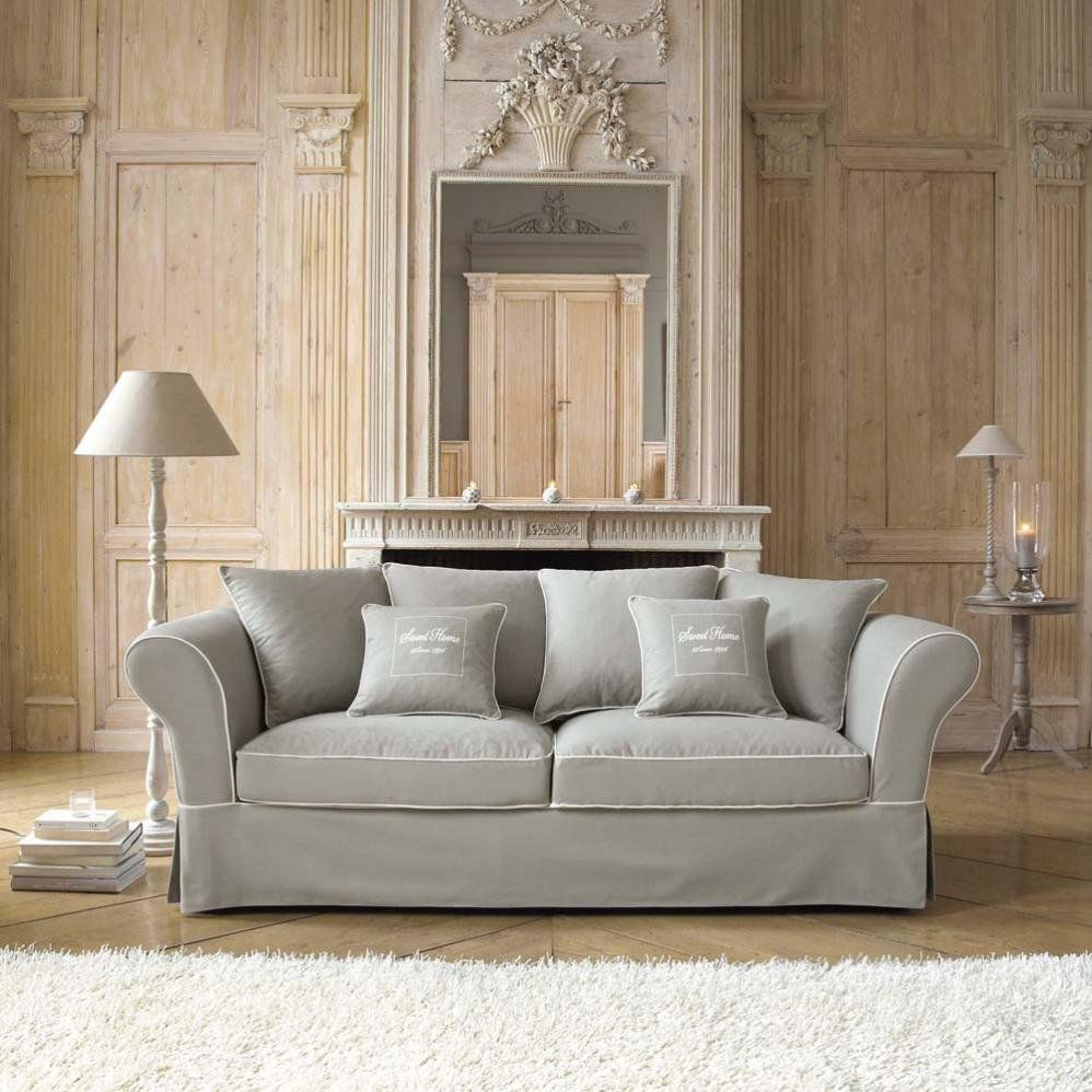 sofa 3 4 sitzer aus baumwolle grau sweet home. Black Bedroom Furniture Sets. Home Design Ideas