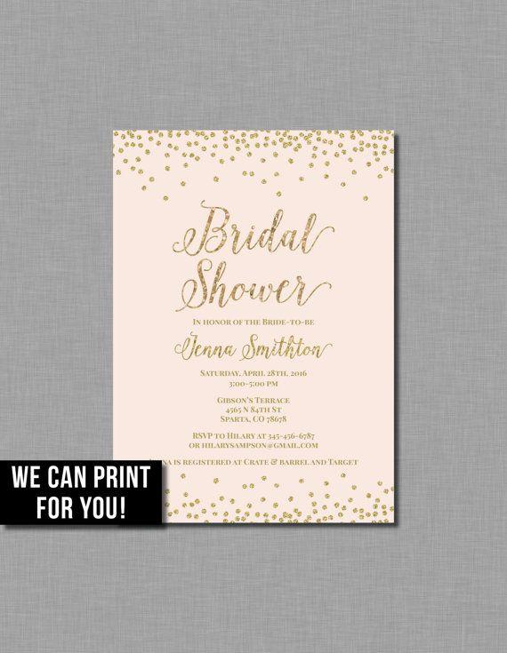 Blush Gold Bridal Shower Invitation Pink Glitter Printable Pdf Jpg Gold Bridal Shower Invitations Bridal Shower Invitations Pink Invitations
