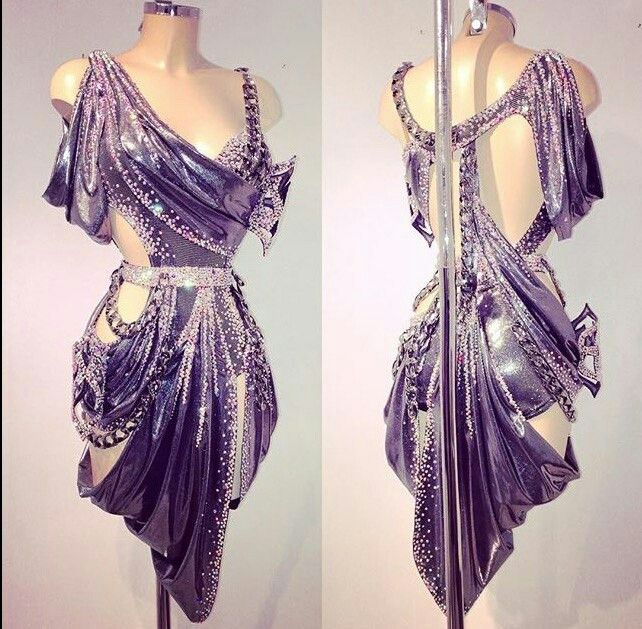 Purple silver grey cutaway wrap Latin dress