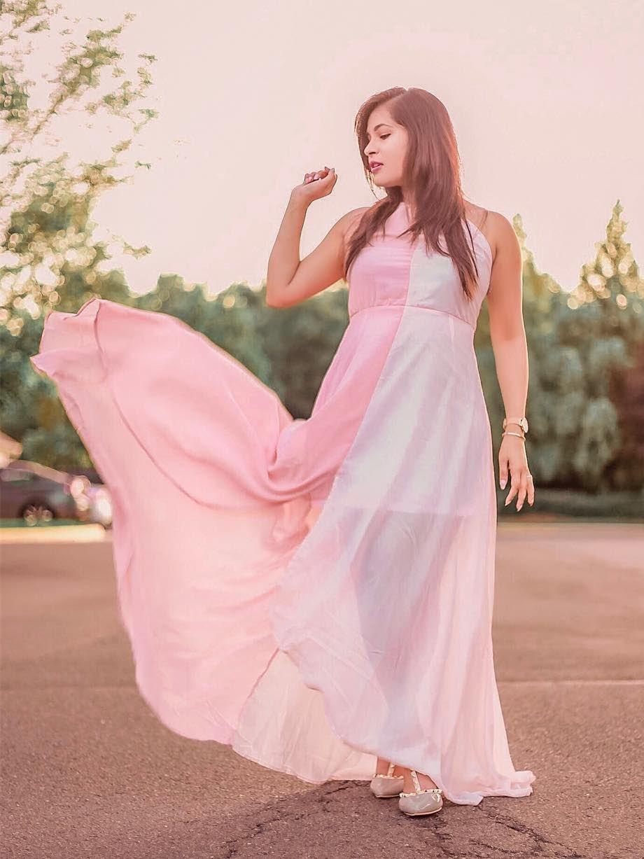 c0f9881909d  Two  Tone  Dip  Hem  Chiffon  Dress Slit Dress