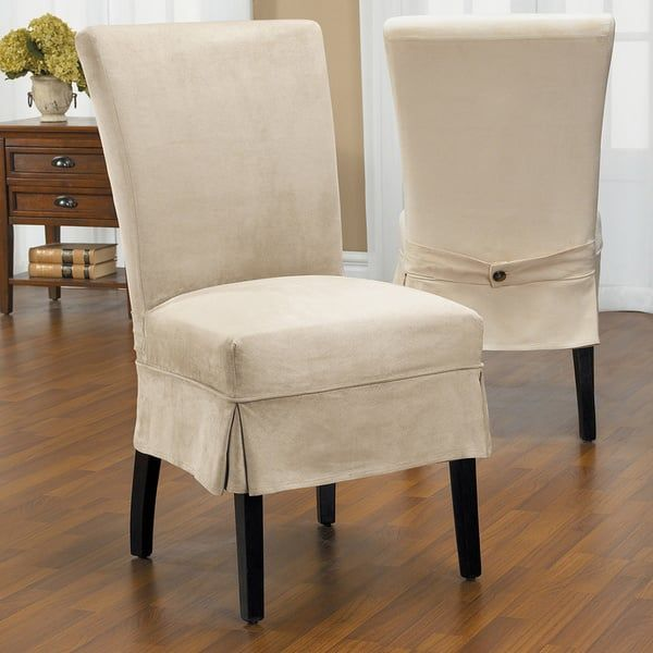32 Stylish Dining Room Ideas To Impress Your Dinner Guests: QuickCover Luxury Suede Mid Pleat Relaxed Fit Dining Chair