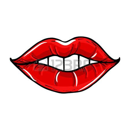 Stock Vector Red Lips Lip Biting Red