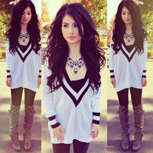 White Black Long Sleeve V Neck Sweater