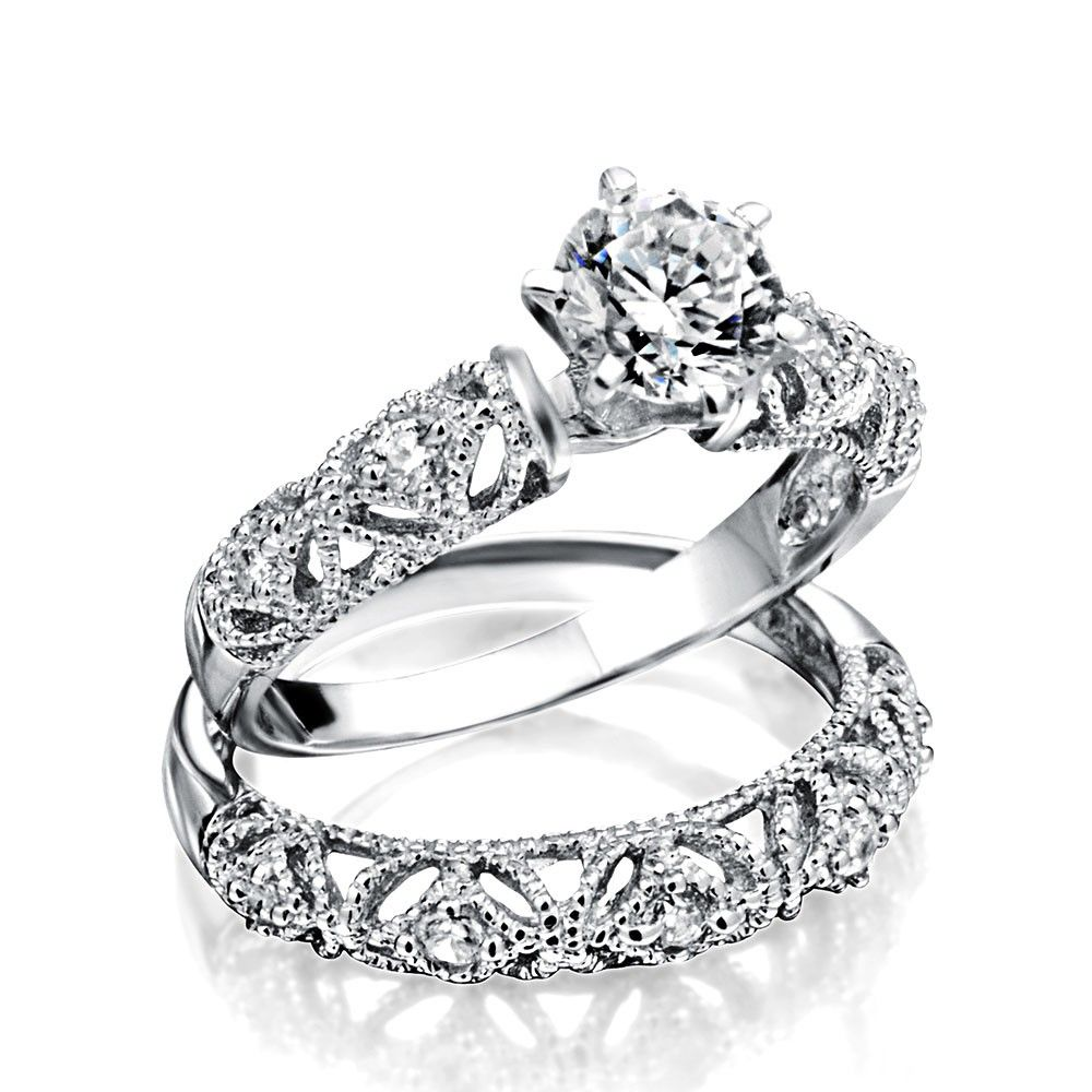 1CT Solitaire AAA CZ Engagement Wedding Band Ring Set
